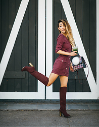Jessica Wang - Bag, Dress, Boots - AUTUMN BURGUNDY