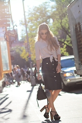 Cassandra DiMicco - Steve Madden Wood Platform Heels, 7 For All Mankind Denim Button Front Skirt - Denim Button Front Skirt