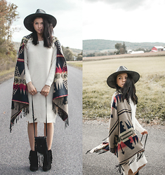 Jessica B. - Wholesale7 Sweater Dress, Nasty Gal Fringe Bag, Garage Clothing Scarve - On the road again