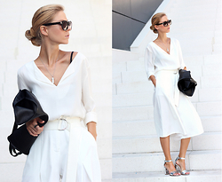 Sirma Markova - Mango Blouse, Shein Culottes, Pull & Bear Sandals, Happiness Boutique Necklace, H&M Belts - Simple White