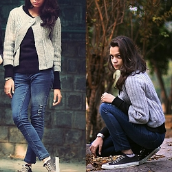 Monalisha Mahapatra - Forever 21 Cape, Zara Sweater, Entree Lifestyle Denim, Calvin Klein Socks, Converse Shoes, Titan Silver Watch - Winter is coming