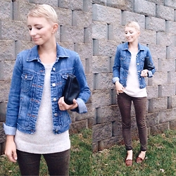 Morgan Elizabeth - J. Crew Jean Jacket, Madewell Jeans, J. Crew Sweater - Grey Days