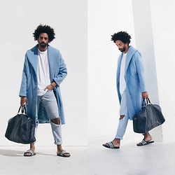 Oli Worlds - Nair Xavier Oversize Coat, Acne Studios White Tee, Levi's® Blue Denim, Louis Vuitton Hand Bag, Adidas Stripe Sandals - HYBRID