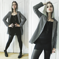 Lidia Zuin - Znu Houndstooth Coat, Forever 21 Black Cross Long Necklace, Regalrose Labradorite Pendulum, Office Black Chunky Boots, Cndirect Lace Bodycon Dress - I imagine the end