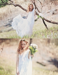Dewi Purnama - Bellsandbirds Fresh Flower Crown, Fringe Lace Top, Maxi Skirt - Best all-white look!