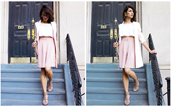 Enrica Scielzo - Stefania Silvestri Pink Bermuda, Topshop Pink Satin Jacket, Ash Footwear Studded Heeled Sandals, Zara Suede Fringe Shoulder Bag, H&M White Crop Top, Cherubs Vintage Earrings - CHELSEA GIRL