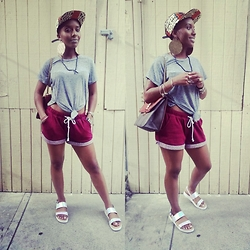 D. Marissa - H&M Shorts, Call It Spring Platform Sandals, Call If Spring Earrings, Gaze Usa From Marshalls Top, Apuletown Snapback - Simple & sporty