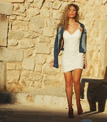 Anita - Dressgal Dress, Tanit Jeans Jacket - White + Denim
