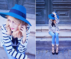 Evelyn Moon - Catarzi Blue Fedora, Zara Lace Up Heel Shoes - The Blue Hat