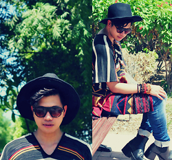 Butch Cervantes - Zara Aztec Blanket Cape, H&M Skinny Denim, Mango Eye Wear, Zara Fedora - Beating Heart!