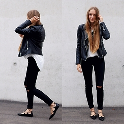 Anna R -  - Leather Jacket & Lace Up Flats