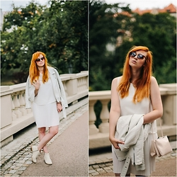 Kejt *** - Mango Dress, Random Shop London Leather White Shoes, Pull & Bear Biker Jacket, Mango Handbag - White dream