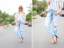 Clare Astra Morris - Zara Off Shoulder Top, H&M Boyfriend Jeans, Deichmanns Heels - Blue Stripes