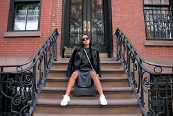 Linh Niller - Topshop Leather Jacket, Margaret O'leary Grey Knit Dress With Side Slit, Adidas Stan Smiths - Downtown Aesthetics