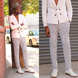 Vernon M. - Forever 21 Double Breasted Lazer, Yesstyle White & Blue Stripe Trousers, Cole Haan - White on stripes
