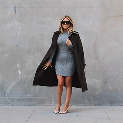 Kaitlyn Nycole - Zara Suede Trench, Naked Wardrobe Sweater Dress, Bcbg Nude Heel, Saint Laurent Flat Top Sunnies - Suede Trench