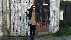 Lauren Rose Bell - Primark Camel Roll Neck, Miss Selfridge Leather Jacket, Office Boots, Quay Australia Sunglasses - Roll Into It