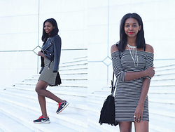 Stephanie C - Nike Sneakers, Nelly Perfecto, Mango Bag, Primark Dress - Off shoulder & stripped dress