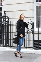 Somehappyshoes - And Other Stories Knit, Ysl Bag, Asos Long Top, Zara Jeans, Zara Heels - Chunky knit & denim