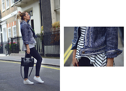 L M - Romwe Blue Tweed Military Jacket, Furla Croc Leather Bag, Vagabond White Leather Sneakers - Urban sailor