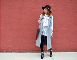 Fashionlingual, Desirée - Hat, Sleeveless Coat, Purse, Blouse, Leggings, Booties - No Pants Required