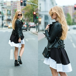 Marta Caban - Zerouv Glasses, Modekungen Jacket, Dressin Bag - B&W DRESS