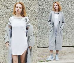Kristina Magdalina - Dressin Dress, Cndirect Coat - Grey&white.