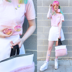 Kate Hannah - Laser Kitten 90s Pins, Romy Ldn Jinx Backpack, Cheep Pink And Yellow Tinted Glasses, Yru Qozmo Platforms, Pleated Skirt (Thirfted), Pink Tee (Thrifted) - ~MARSHMALLOW~