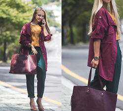 Olga Choi - Shein Marsala Suede Jacket, Forever 21 Suede Top - Faded fall