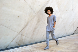 Marco Moura - Pull & Bear T Shirt, Zara Pants, Hugo Costa Sneakers - Monochrome