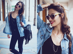 Sofya Benzakour Knidel - Forever 21 Denim Jacket, Vogue Eyewear Sunglasses, Fashion Pills Fringed Bag - Denim in Paris