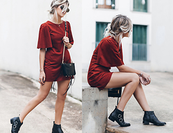 Mikuta - Zara Dress, Senso Boots, Rebecca Minkoff Bag, Sarenza Bag - RED SUEDE