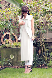 ASH - Misguided Leather Vest, H&M Cropped Trousers, Forever21 High Slit Top - All white, All right