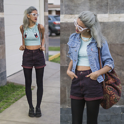 Andrea Chavez - Aliexpress Squirtle Top, Sweet Jungle Vintage Burgundy Shorts, Creepers, Oslo Kids Denim Jacket - Aqua Girl