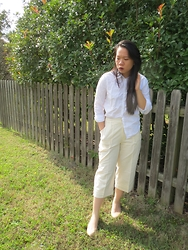 Juliet Ly - Forever 21 White Button Up, Wide Leg Trouser, Banana Republic Nude Heels - Wide Leg Trousers