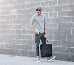 Aaron Wester - Club Monaco Sweatshirt, Zara Trousers, Frank Wright Sneakers - Grey on Grey on Grey