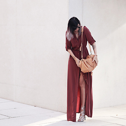Jana Wind - Mango Dress, Bree Bag, Missguided Sandals - Autumn colors