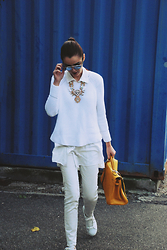 Andreea Birsan - Christian Dior Sunglasses, C&A Shirt, Mango Sweater, H&M Necklace, Mango Jeans, Mango Trainers, Hermès Bag - White-Out