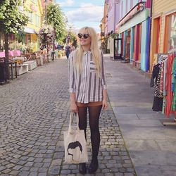 Ingrid O - H&M Stripy Shirt, Gina Tricot Sammie Shorts, Monki Selina Low Cut Boots, Ingridesign 'Don'T Stop Me Now' Tote - IN THE COLOURFUL STREET