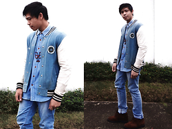 Ronwell Lim - Topman Varsity Jacket, Zara Denim Button Down, Zara Jeans, Dockers Shoes, Topman Necklace - Blues Away: How To Wear Anything Head-To-Toe