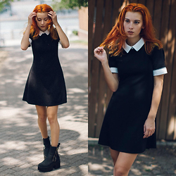 Ashley Laderer - Forever 21 Collared Dress, Ami Clubwear Platform Boots - ESCAPE FROM CATHOLIC SCHOOL