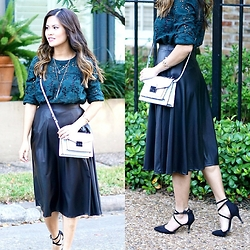 Quynh Tran - Zara Guipure Lace Top, Love 21 Faux Leather Midi Skirt, Asos Ankle Strap Heels, Loeffler Randall Mini Rider - Emerald
