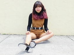 Brisa Gomez - Boohoo Corduroy Playsuit, Boohoo Double Buckle Belt, Shellys London Platforms, Forever 21 Turtleneck - Be Yourself
