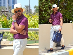 Paul Ramos - H&M Polka Dot Shirt, H&M White Trousers, Bachelor Shoes Tassel Espadrilles, Howick Panama Hat, Guess Ice Blue Watch - THAI EXPRESS