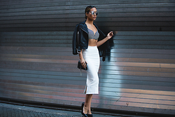 Jessi Malay - Dior So Real Frames, All Saints Balfern Biker Jacket, Zimmermann Plunge Bra Top, Saboskirt Kay Pencil Skirt, Saint Laurent Monogramme Crossbody, Tony Bianco Ajana Pumps - Hey Slick