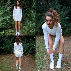 Alexia N - Ralph Lauren Sweater, Mango Dress, Adidas Stan Smith Original - White for a walk