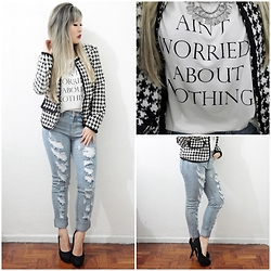 Thais Chung - Shop Tk Pied De Poule Blazer, Shop Tk Tshirt, Shop Tk Destroyed Jeans, Asos Black Heels - AIN'T WORRY ABOUT NOTHING
