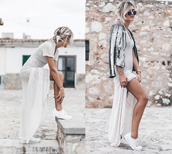 Mikuta - Iro Jacket, Esprit Sneakers, Etxart & Panno Dress, Zerouv Sunglasses - WHITE, TEXTURES & SHINE
