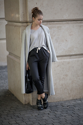 Anna Vershinina - Sheinside Sweater, Sheinside Coat, Dresslink Pants - Grey Routine