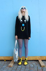 Sotzie Q - Lazy Oaf Pom Pom Knitted Jumper, Chequered Tights, Dr. Martens Yellow Boots, Diy Silver Tote Bag - Dopamine
